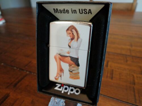SEXY LIBRARIAN BOOK WORM PINUP GIRL ZIPPO LIGHTER MINT IN BOX