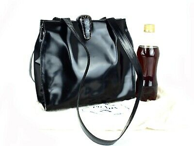 Auth PRADA Milano Black Patent Leather Hand Bag Shoulder Bag Purse Italy Vintage