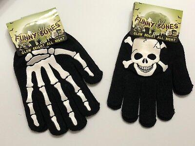 Glow In The Dark Halloween Gloves - Skeleton or Crossbones Design - Oct 31