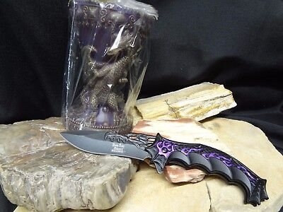 Mythical DRAGON Purple Candle & Knife Set Tealight Tea Light Gift Set NEW