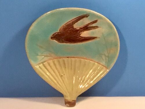Antique Wedgwood Majolica Butter Pat Plate Sparrow on Fan c.1800