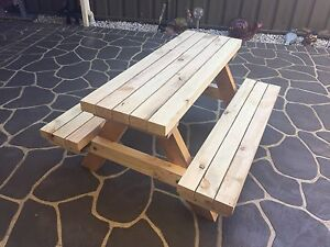 Kids/children's wooden table and chair/bench seat handmade Penrith Penrith Area Preview