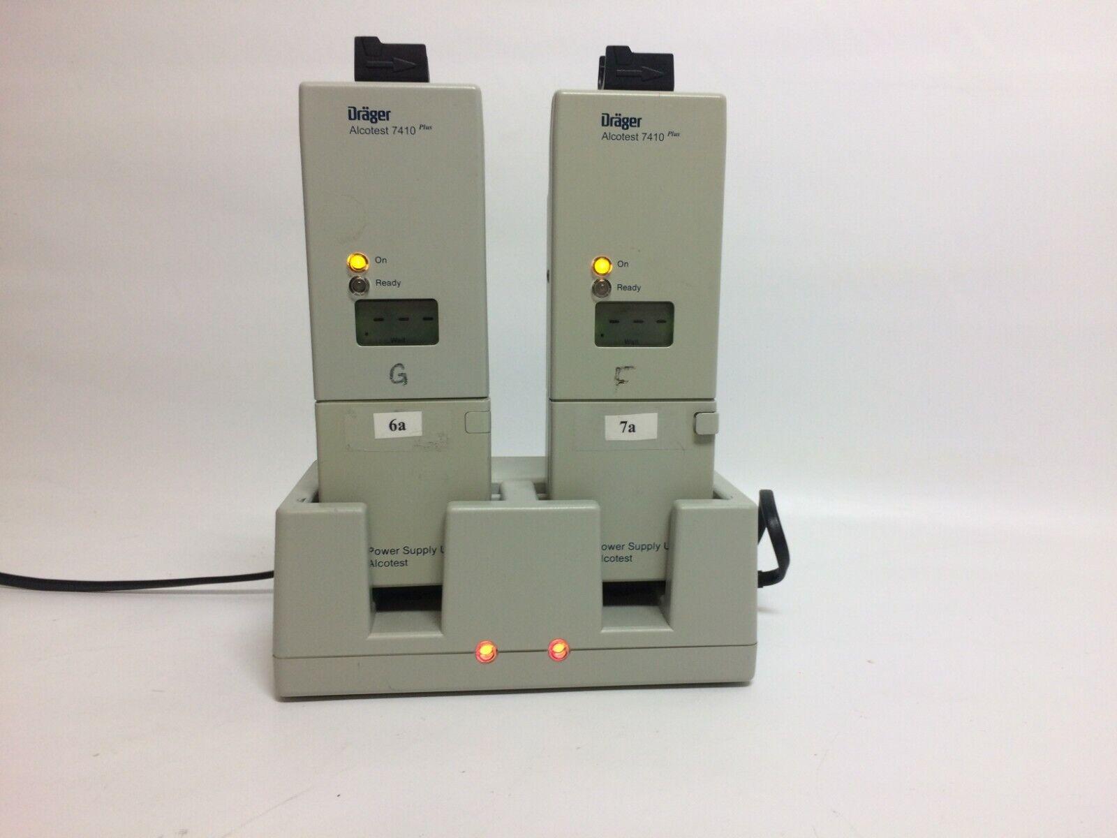2 DRAGER ALCOTEST 7410 PLUS Breathalyzers W/ Two Batteries & Charging Unit