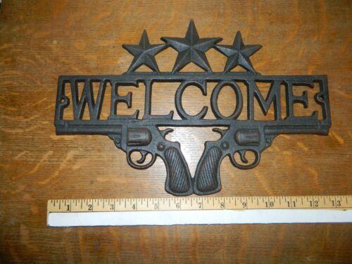 Western Double Dual Pistol Welcome Sign Iron Stars Lodge Decor Door Plaque Fence
