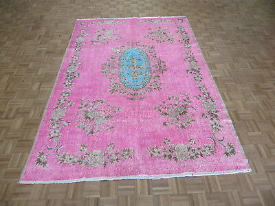 7'1 x 10'4 Hand Knotted Hot Pink Turkish Oushak Ushak Oriental Rug G6339 (Hot Pink Carpet)
