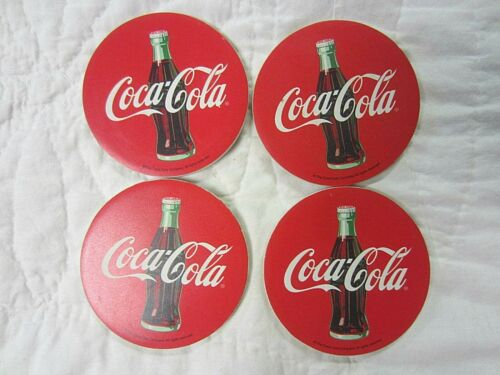 Set of 4 Coca-Cola Bottle Round Ceramic Drink Coasters Collectible