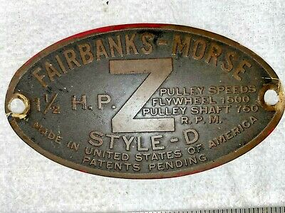 1 12 Hp Brass Tag Fairbanks Morse Zd Hit Miss Engine Tractor Auto Antique