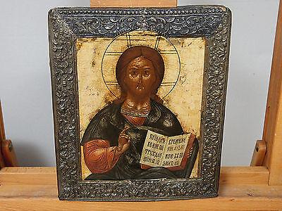 IKONE ANTIK RUSSLAND CHRISTUS PANTOKRATOR old antique icon Christ Pantocrator
