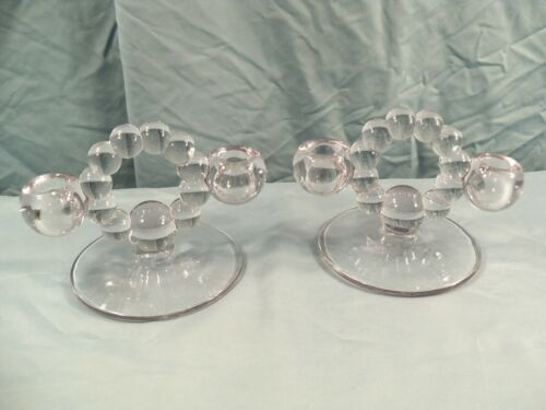 Pair Set of 2 Imperial Glass Candlewick 2 or Double Stick Candle Holders