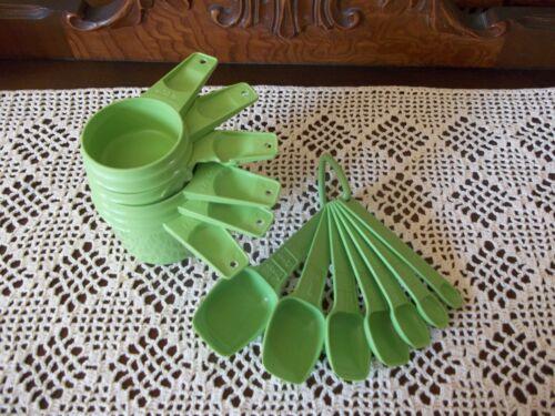 VINTAGE TUPPERWARE Apple Green MEASURING CUPS & MEASURING SPOONS~COMPLETE SETS!!