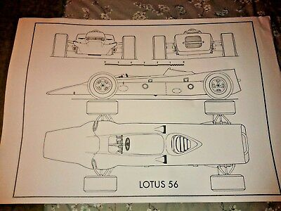 A1 plan drawing 1968 Lotus Pratt and Whitney 56 Gas Turbine Indianapolis car