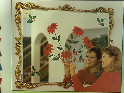 Christmas Decoration Clings Poinsettias Red Flowers Window & more Reusable NEW