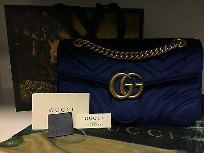 Gucci Marmont Velvet Blue Bag Receipt & Box