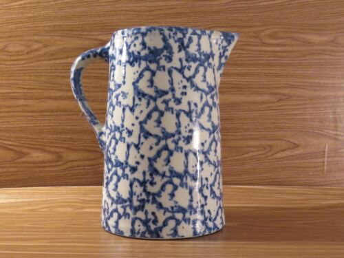Antique Blue White Spongeware Pitcher Tankard 19th Century Stoneware