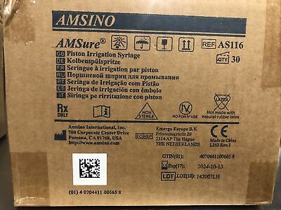 Amsino Amsure As116 60ml Flat Top Piston Irrigation Syringe 1-box Of 30