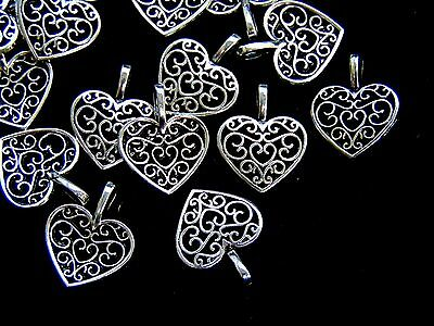 25 Pcs - 18mm Tibetan Silver Filigree Heart Pendants Charms Jewellery S123