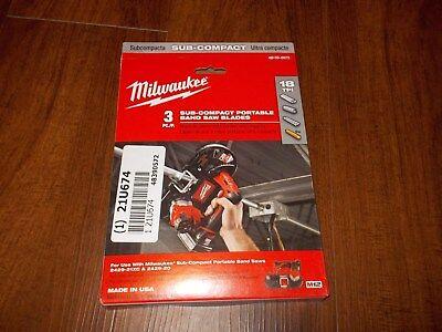 NEW Milwaukee 48-39-0572 M12 18TPI Sub-Compact Portable Band Saw Blade 3PK - Compact Portable Band Saw Blade