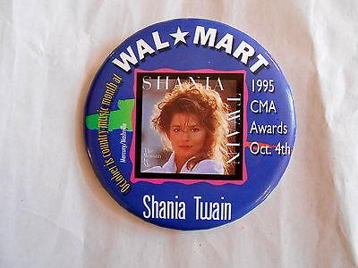Vintage 1995 Cma Country Music Awards Shania Twain Wal Mart Promo Pinback Button