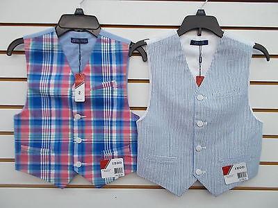 Boys IZOD $36 Plaid or Med Blue & White Striped Vest Size 8 - 14/16