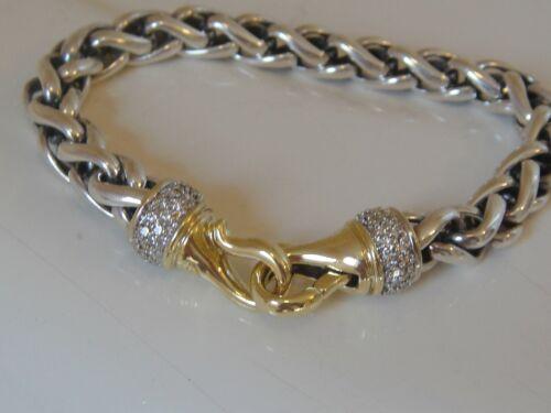 $4150 DAVID YURMAN 18K GOLD DIAMOND CLASP, SILVER WHEAT CHAIN BRACELET 8mm