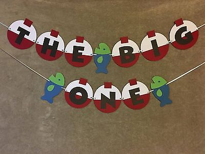 The Big One fishing banner. Bobbers and fish. Great for 1st birthday parties.