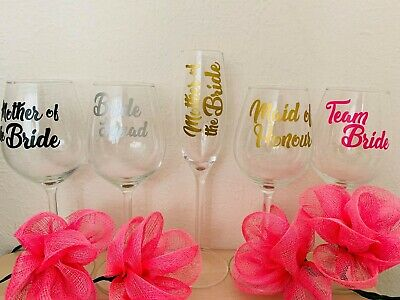 Decal Label for Wedding Party champagne flutes glasses/wine glasses Stickers