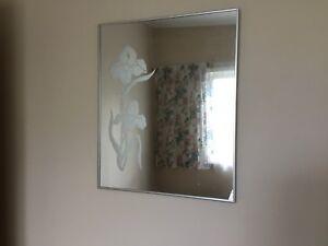 "Mirror with Iris etching.  2' x1' 8"""