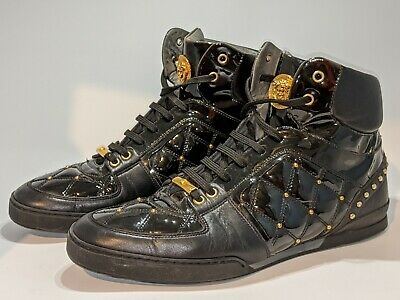 VERSACE Medusa Black Leather Gold Studded High Top Sneakers Mens 12 EU 46