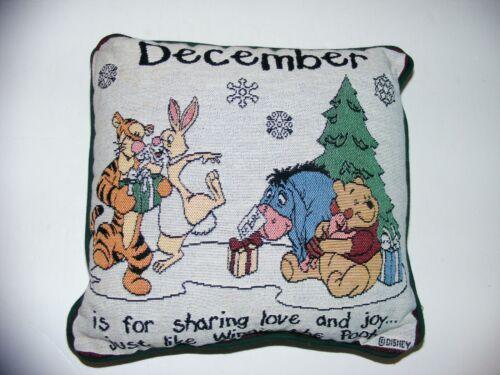Vtg Disney Christmas Tapestry Pillow Winnie The Pooh Tigger Eeyore December Love