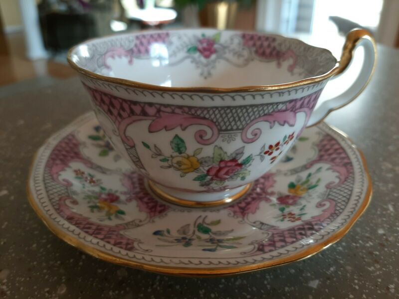 MINT Adderley Lowestoft PINK Cup & Saucer Made England