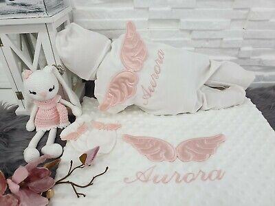 NEU! Baby Strampler Set Decke mit Namen Engelflügel - Baby Engel Mit Flügeln