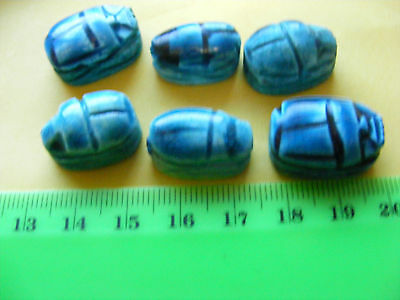 .Lot of 6 Egyptian Scarabs hand-made of Egypt ceramic faience::: Hieroglyphics.