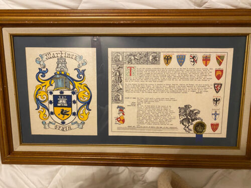 Framed Martinez Spain Family Crest Coat Of Arms Surname History Meaning - $25.00