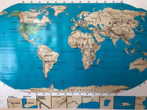 Pull Down School Map of the World  Vintage, Salvage, Old, Antique.