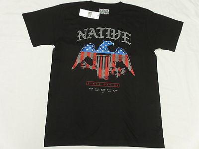 NWT NEW Mens Native Borne T-Shirt Stars And Bars Bird Tee Black Urban Sz S M545