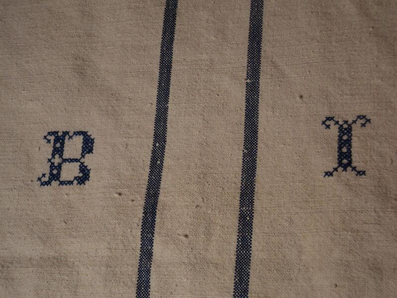 Antique European Feed Sack GRAIN SACK BI Monogram #3794