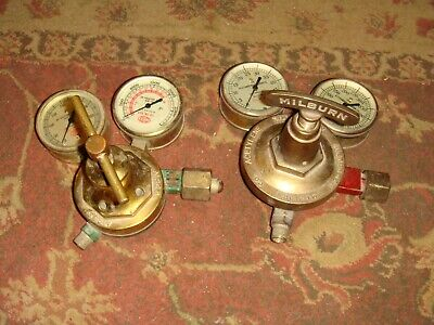 2 Vintage Welding Gauge Sets - Airco And Milburn - Large - Steampunk Free Ship