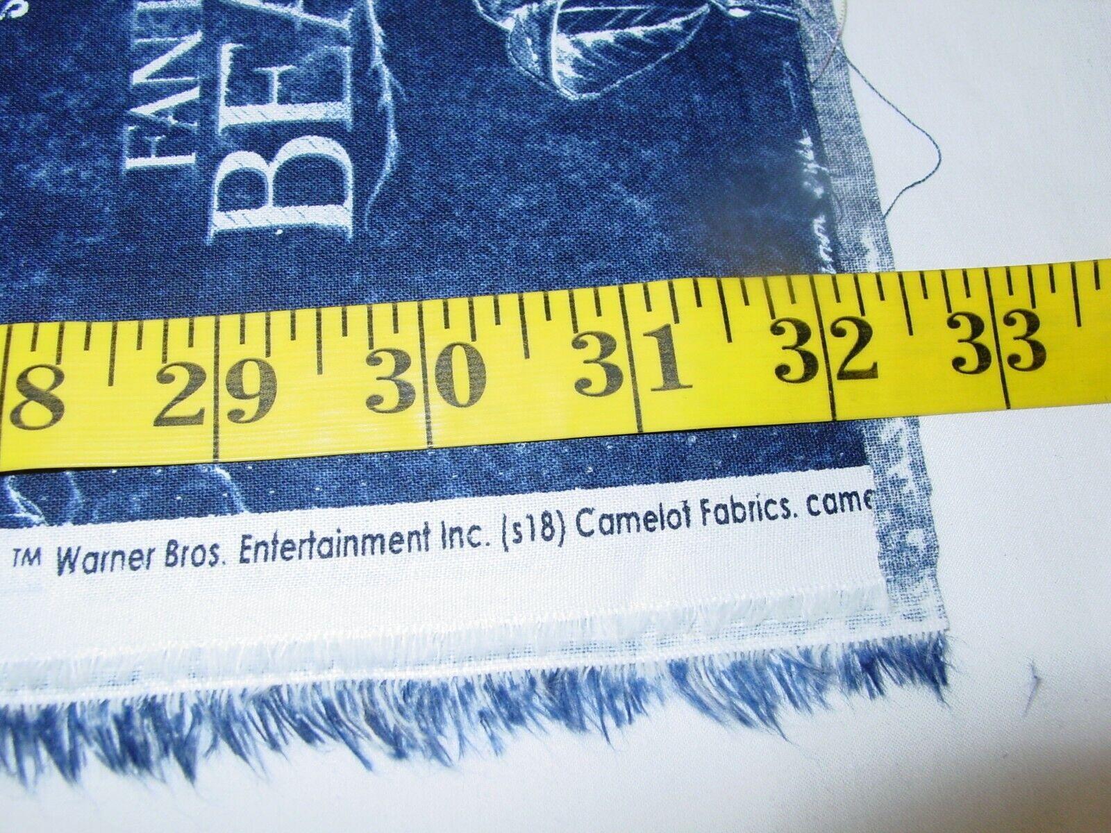 FANTASTIC BEAST BLUE 100 COTTON FABRIC REMNANT LENGTH 31 X WIDTH 43  - $10.50