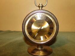 Vintage Bulova table/desk mechanical alarm clock brass JAPAN made, running good