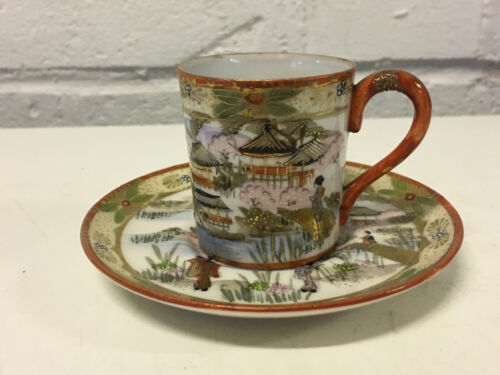 Vintage Antique Japanese Porcelain Cup & Saucer w Figures & Landscape Decoration
