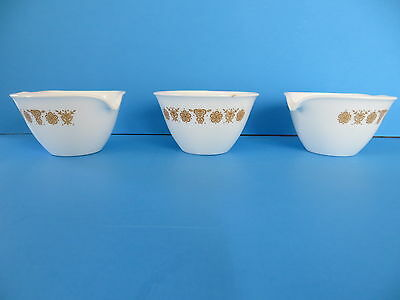 Corning 2 Creamer & a Sugar Bowl No Lid in Butterfly Gold
