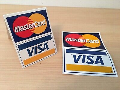 Mastercard Visa Logo Credit Debit Card Accept Business Store Tent Sign Sticker