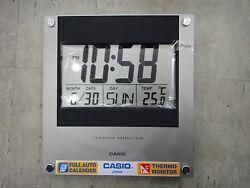 Casio ID-11 auto calendar thermo Hygrometer large wall clock Temperature Silver