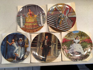 Assiettes Gone With The WInd Collector Plates Lot of 5 Vintage