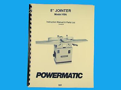 Powermatic Model 60a Jointer Instruction Parts Manual 281