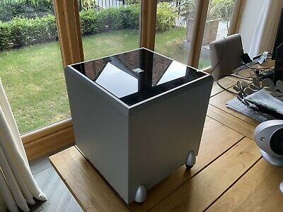Kef PSW 2010 - Powered Subwoofer Silver With Black Glass Top + 10m Cable