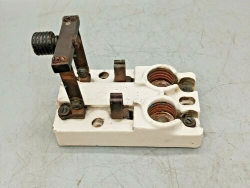 1  Porcelain  30A 125V Disconnect Knife Switch Electric Steampunk T.E.M. CO.