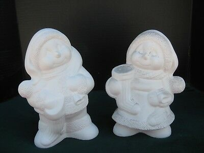 "04 Ceramic Bisque Boy and Girl Snowmen 10""tall You Paint"