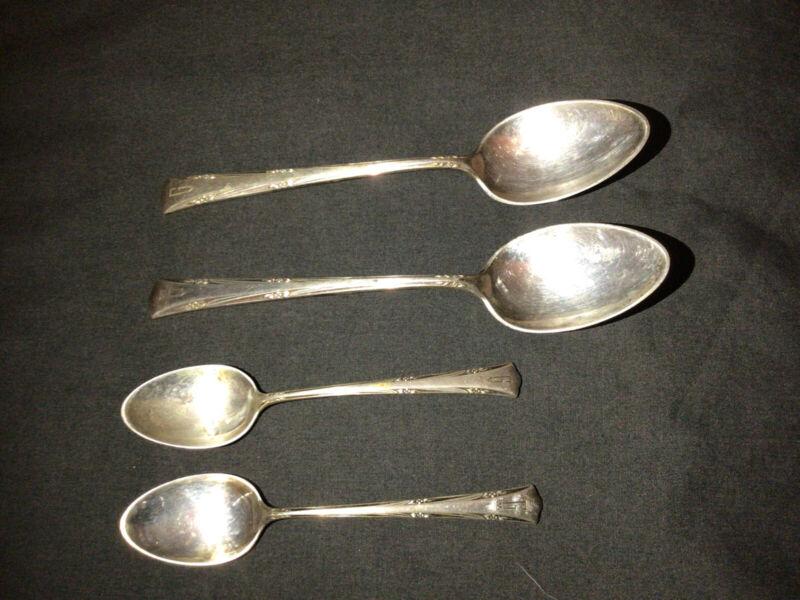 4 Gorham Sterling GREENBRIER Spoons- 2 Teaspoons, 2 Demitasse Spoons G Monogram