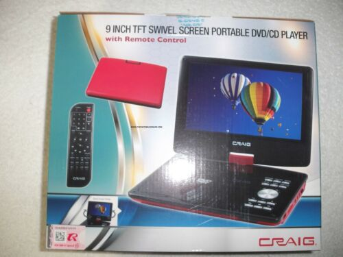 """9"""" CRAIG CTFT713 180° SWIVELSCREEN PORTABLE DVD PLAYER, REMOTE & MORE NEW RED!!!"""